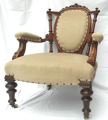 Late Victorian Show-Frame Armchair (Newly Upholstered) U.k.customers Only.