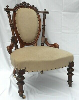Late Victorian Show-Frame Ladies Chair (Newly Upholstered) U.k.customers Only.
