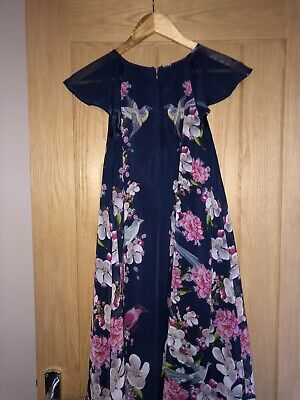 Ted Baker Girls Party Christmas Dress Age 12 Blue Floral Beautiful