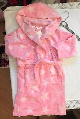 Gorgeous Snuggly Minikidz Pink 3D Hooded Dressing Gown 4-5 Years Bnwt