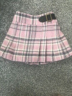 Girls Next Pink & Grey Checked Wool Skirt. 9-12months