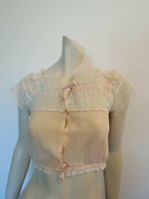 Peach Silk Cropped Camisole, Corset Cover, With Rosettes - Bust 81 cm