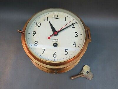 Vintage brass ships wall clock with Smiths Astral movement