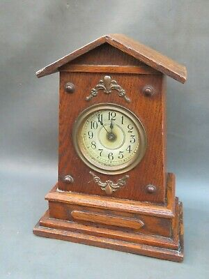 Vintage wooden oak mantle clock - for restoration