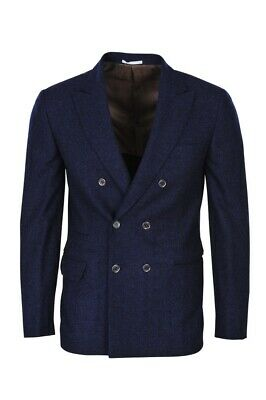 Brunello Cucinelli Blazer Men's 50 Fall Winter Navy Slim Fit Checkered Wool
