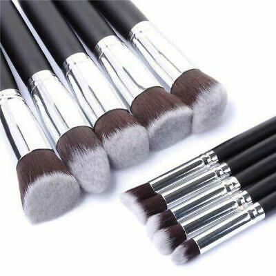 PACK OF 10 Silver and Black MAKE UP BRUSHES, Eye Shadow, Blush, Concealer Tools