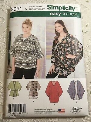 XS-S-M-L-XL New Look 6378 Misses Easy Kimonos with Length Variations Sewing Kit Size A