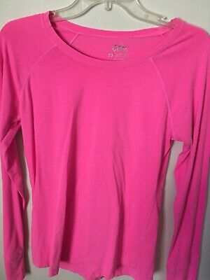 Justice Girls Bright Neon Pink Long Sleeve Round Neck T-Shirt Size 20