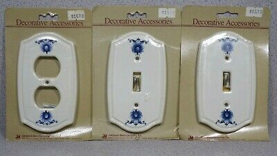 3 New White Blue Floral Design Ceramic Outlet Cover & Toggle Switch Wall Plates