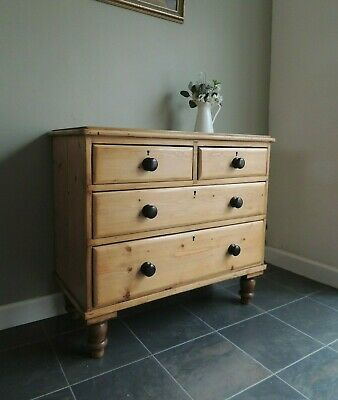 Beautiful Antique Victorian Solid Pine Stripped Chest of Drawers