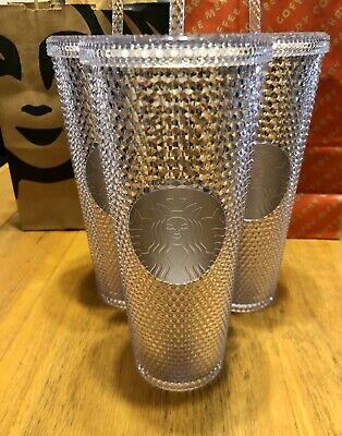 NEW STARBUCKS 2019 Venti Bling Platinum White Studded Cold Cup Tumbler HOLIDAY