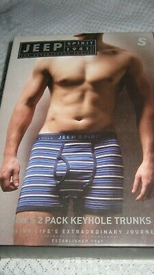 Men's Jeep Two Pack Keyhole Trunks-Blue Stripe/Navy-Size Small-Bnip