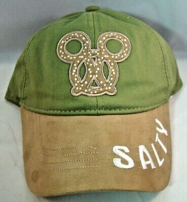 Disney Parks Mickey Mouse Pretzel Salty Hat Baseball Cap Green Brown Adult New