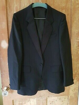 Men's dinner jacket black Tuami Finland 36R 45% Wool double vent satin collar