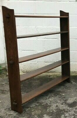 Antique Arts & Crafts Solid Oak Pegged  Open library bookcase