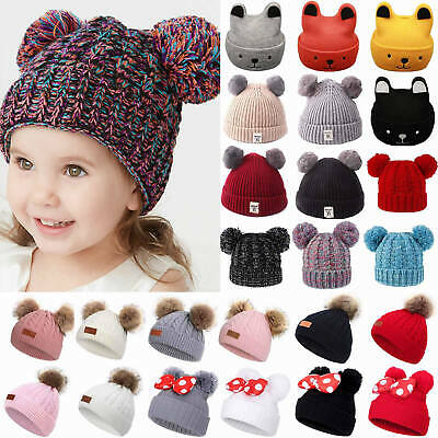 Kids Winter Warm Beanie Hat Girls Children Knitted Boys Hats Large Pom Pom Cap