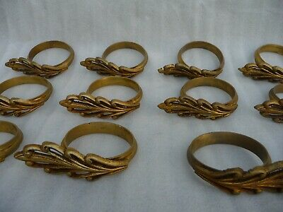 Antique French Large Gilt Bronze Architectural Curtain Pole rings Set Of 19