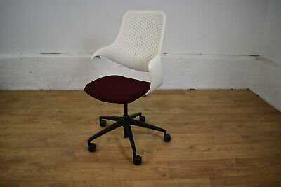 Boss Design Coza White+Burgundy Office Operator Swivel Chair Qty Available