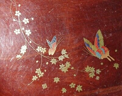 A Beautiful Antique Japanese Wooden Bowl with Delightful Butterfly decoration