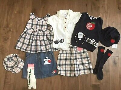 Gymboree PREP SCHOOL Ivory Plaid A is for Adorable Top Tee Shirt NWT 2T Fall