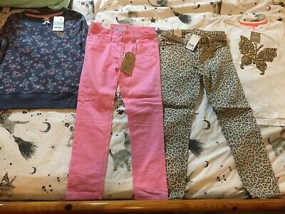 BNWT Next 7 years 4pc outfit bundle jeans top jumper new leopard floral 6-7 girl