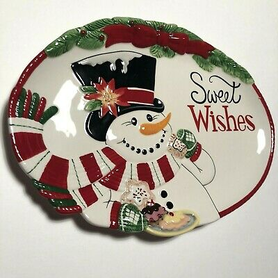 Fitz And Floyd Sweet Wishes Top Hat Frosty Cookie Serving Platter