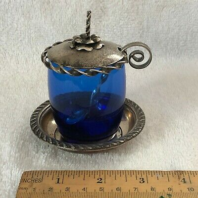 Sterling Silver Cobalt Glass Small Mustard Salt Server w Cover, Spoon, Tray