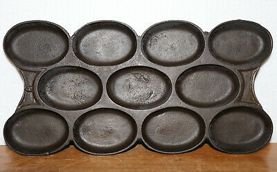 Rare Unusual Antique Raised Number Gem Muffin Biscuit Pan Cast Iron Kitchenware