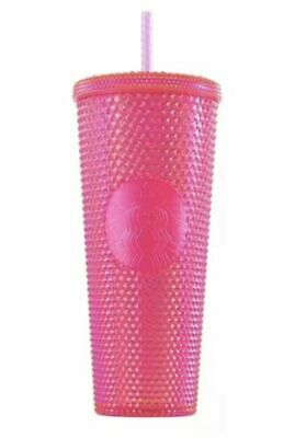 STARBUCKS 2019 Neon Pink Studded Cold Cup Tumbler WINTER HOLIDAY 24 oz