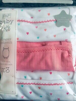 New baby girls pack of 3 vest style bodysuits, 2-3 years