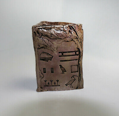 Pencil And Pen Holder with egyptian hieroglyphic writing. Handmade.