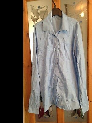 George at Asda blue girls school blouse age 15 16 or ladies 10 12 shirt button