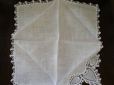 Vintage Handmade Crochet Lace Bird Face White Handkerchief