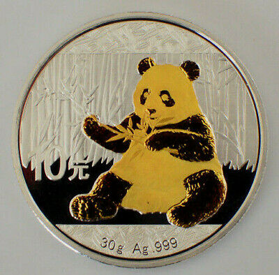 2017 1oz .999 Silver Chinese Panda  Gold Gilded Coin