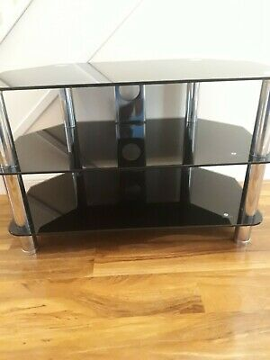 Black Glass Three Shelves Tiers TV stand Cabinet Corner Unit