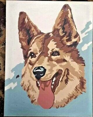 Vtg  Paint-By-Number German Shepherd Dog Completed and Framed
