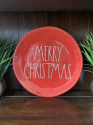 Rae Dunn Merry Christmas Red Dinner Plates w/white stitching and letters Set/2