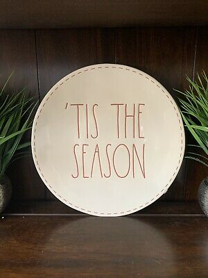 Rae Dunn Tis The Season White w/Red Letter and Stitching Dinner Plates Set Of 2