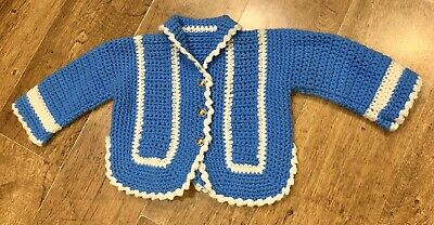 Childs Vintage 70's Crochet Jacket Cardigan 2-3 Yrs
