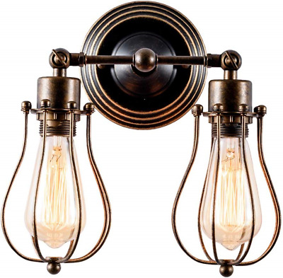 Home & Kitchen Wall Wash Lights 2-Light Lamp Base Painted with Oil Rubbed Bronze Vintage Wall Lights Adjustable Socket Industrial Lighting Rustic Wire Metal Cage Sconces Indoor Home Wall Lamp Retro Light Fixture