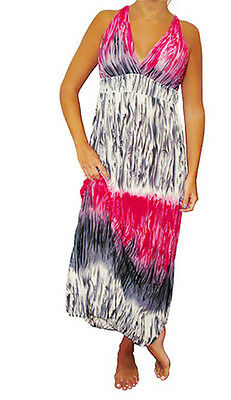 NEW Womens Pink White Fuchsia Multi Color Maxi Summer Long DRESS Juniors S M L