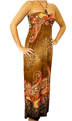 NEW Womens Brown Multi Color Summer Beaded Maxi Halter Long DRESS S M L XL