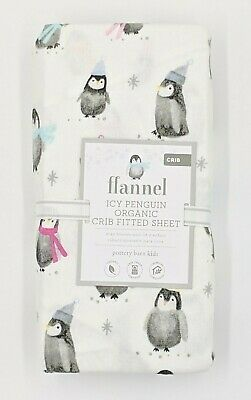 Pottery Barn Kids ~ Icy Penguin Organic Crib Fitted Sheet Crib ~ Holiday