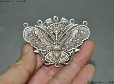 Collect Old Chinese Tibetan silver butterfly Exorcism Amulet Pendant