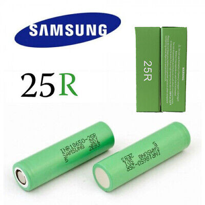 2x Samsung 25R 18650 2500mAh INR18650 25r Lithium  Rechargeable Battery 20A