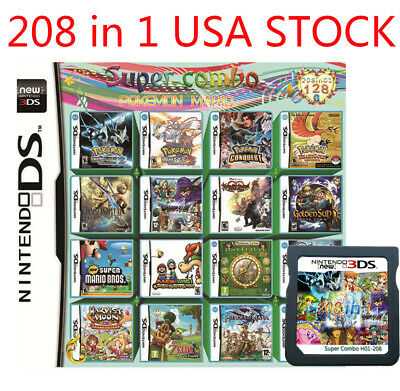 208 in 1 Games Cartridge Multicart For Nintendo DS NDS NDSL NDSI 2DS 3DS US SHIP