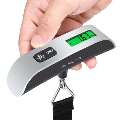 Portable Digital Luggage Scale LCD Travel Hanging Electronic Weight 110lb / 50Kg