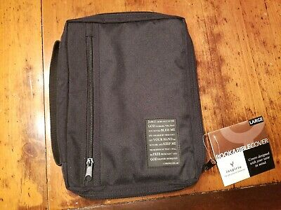 Inspirio Bible Cover black canvas with 1 Chronicles 4:10 NWT zipper & strap