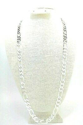 """mens 12mm Figaro Chain necklace 30"""" 925 sterling silver (stamped 925)"""