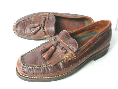 H.S. TRASK US 11M Two Tone Brown Leather Tassel Loafers Shoes BRAZIL